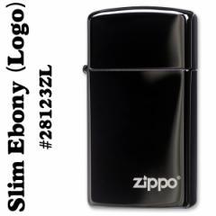 zippo(ジッポーライター)漆黒のブラック28123EBONY SLIM(エボニースリム)ZIPPOロゴ入り #28123ZL