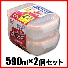 保存容器 4バックル完全密閉容器 590ml×2個セット オレンジ 食品保存容器 食料保存  アイリスオーヤマ