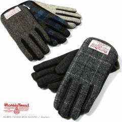 【手袋 メンズ】Harris Tweed ハリスツイード ウール 切り替え チェック柄 グローブ 5本指 指あり 男性 紳士 防寒