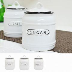 保存容器 調味料入れ 調味料ポット ホーロー風キャニスター 陶器 800ml