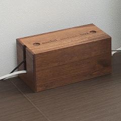 桐ケーブルボックス ミニ ブラウン色( タップボックス ケーブル 収納 電源 コードケース 箱 日本製 コンセント )