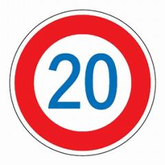 路面道路標識 「速度制限20K」 強力粘着テープ付き 軟質エンビタイプ