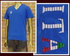 ヴィオラルモーレ イタ シリコンラメ Vネック Tシャツ メンズ VIOLA RUMORE 【A41315-3-2】