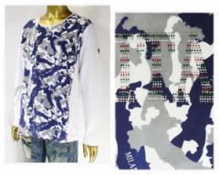 ヴィオラルモーレ 切替 迷彩柄 ジルコニア イタリアンカラー 長袖 Tシャツ メンズ VIOLA RUMORE 【A81120 3-1カモ】