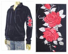 ケーユーアイ 薔薇 バラ 刺繍 ベロア ZIP ジップ パーカー メンズ K・U・I 【78357 バラシシュウ】