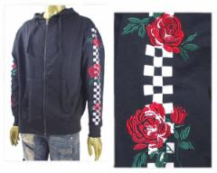 コントライブ ビッグシルエット 薔薇 バラ チェッカー 袖デザイン 薄手スウェットZIPパーカー メンズ CONTRIBE 【72701506 バラ】