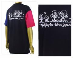 マークゴンザレス レッド ブルーの袖配色 ブラックのボディー いけてる切換え トリコカラー Tシャツ メンズ MARK GONZALES 【2G7-3310 01