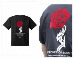 アイディー ビッグサイズ対応 バラの花をフロッキーでプリントした注目の1枚 薔薇 Tシャツ メンズ EYEDY 【EYE-339SS フロッキー】