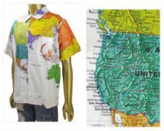 アイディー 古着で人気があったカートコパーンが着用したワールドマップ柄デザインを復刻 オープンシャツ メンズ EYEDY 【EYE-SH1801 マ