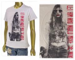インジアティック USED感のあるパウダー加工 凹凸のあるエンボス加工 ワッペンガールフォト Tシャツ メンズ IN THE ATTIC 【182-1326 1エ