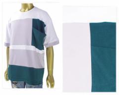 ハルハム 幾何学 ブロッキングポケット Tシャツ メンズ HALHAM 【186019H 1ポケット】