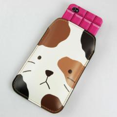 本革(レザー) スマートフォンケース【IA801 みけ】【Lサイズ】 iPhone5/ARROWS Kiss F-03E/MEDIAS U N-02E 等汎用