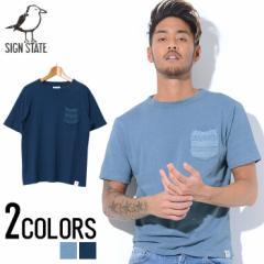 SIGN【サイン】ニット切り替え ポケット付き クルーネック 半袖 Tシャツ /全2色 trend_d メンズ ビター系