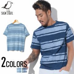 SIGN【サイン】かすれ ボーダー プリント クルーネック 半袖 Tシャツ /全2色 trend_d メンズ ビター系