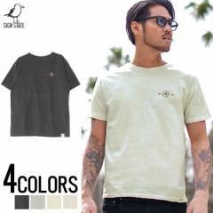 SIGN【サイン】ピグメント加工 ネイティブ スタッズ クルーネック 半袖 Tシャツ /全4色 trend_d メンズ ビター系
