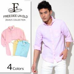 SALE FREEDEE UN OLD【フリーディー】ワイドカラーリネンシャツ/全4色(ホワイト/ライトブルー/イエロー/ピンク)