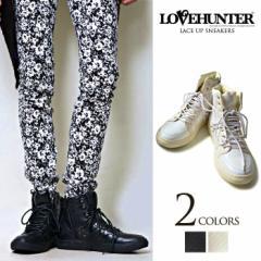 LOVE HUNTER【ラブハンター】レースアップ スニーカー /全2色(ブラック/ホワイト) メンズ