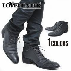 LOVE HUNTER ショート レースアップブーツ /BLK(ブラック) メンズ