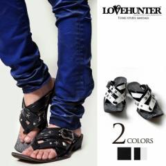 LOVE HUNTER【ラブハンター】トングスタッズサンダル/全2色(ブラック/ブラック×ホワイト) メンズ