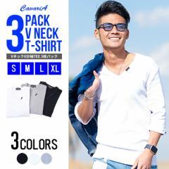 [送料無料]CavariA【キャバリア】3Pパック フライス Vネック 6分袖 Tシャツ /SET trend_d メンズ ビター系