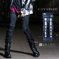 【クーポン対象外】[送料無料]CIVARIZE【シヴァーライズ】Shrine クラッシュ スキニー デニムパンツ /全2色 メンズ VHS