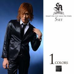 【SALE】LA GATE ナイトオウル スーツ 5点セット/Black(シャイニーピンストライプ) メンズ
