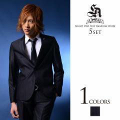 【SALE】LA GATE ナイトオウル スーツ 5点セット/Black(ランダムストライプ) メンズ