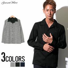 SALE Garson Wave 日本製 千鳥柄 プリント ワンナップ オープンカラー デザイン 長袖シャツ /全3色 ビター系