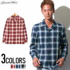 SALE Garson Wave High DeSIGN ブロード オンブレ チェック ワンナップ オープン デザイン 長袖シャツ /全3色 メンズ