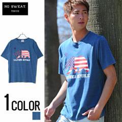 No sweat【ノースウェット】インディゴ染め CALIFORNIA REPUBLIC Bear 半袖 Tシャツ /全1色 trend_d メンズ ビター系