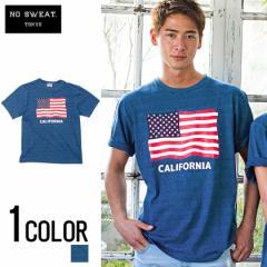 No sweat【ノースウェット】インディゴ染め 星条旗柄 プリント 半袖 Tシャツ /全1色 trend_d メンズ ビター系
