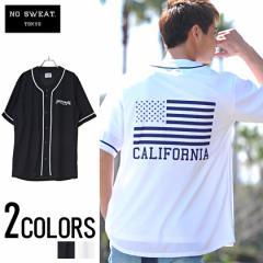 SALE No sweat【ノースウェット】CALIFORNIA ロゴ プリント ベースボール 半袖 シャツ /全2色 trend_d メンズ ビター系