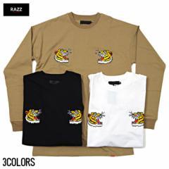 RAZZIS【ラズ】虎刺繍 クルーネック 長袖 Tシャツ...