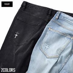 [送料無料]RAZZIS【ラズ】ダメージ 裾 ZIP デニムパンツ /全2色 trend_d メンズ ビター系