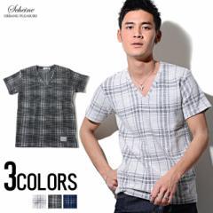 SALE SCHEINE【シャイナ】スフレチェック Vネック 半袖 Tシャツ /全3色(ホワイト/ブラック/ブルー) trend_d メンズ ビター系