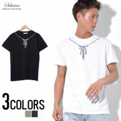 SALE SCHEINE【シャイナ】フェザービーズ ネックレス Lプリント 半袖 Tシャツ /全3色 trend_d メンズ ビター系
