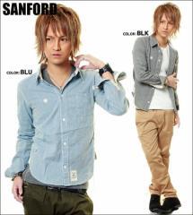 SANFORD【サンフォード】シャンプレーワークシャツ/全2色[BLK/BLU]【*】メンズ