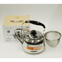 オール熱源対応 ステンレス製 広口ケットル 4.0L (茶こしアミ付) H-1237 #10