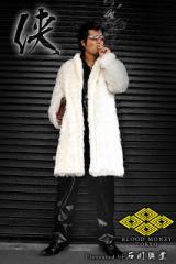 送料無料14060ホワイト■BLOOD MONEY TOKYOファーコート■服オラオラ系ヤカラグ悪羅悪羅系ちょい悪ヤクザホストスーツ冠婚葬祭成人式結婚