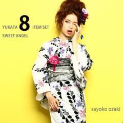 【浴衣】浴衣8点セット 尾崎紗代子chan着用 YS223 白地 紫ピンク 百合シルエット 黒 藤の花 yk01