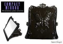 コンパクトミラー 折りたたみミラー 【蝶/バタフライ】ハンドミラー 角型 手鏡