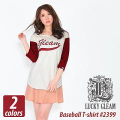 レディース 七分袖 ベースボールTシャツ #2399 LUCKY GLEAM プリント 7st lady