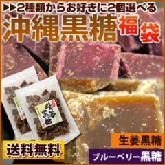 送料無料 2種類から2個選べる 沖縄黒糖 黒糖 2種類から組み合わせ自由 ブルーベリー黒糖 生姜黒糖