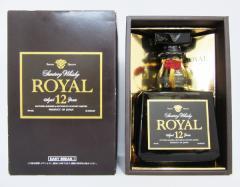 【レトロ】サントリーウイスキー ローヤル12年 角瓶 ブラックラベル 43度 700ml (ブラウン専用化粧箱入り SRN1N)