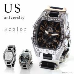 ★送料無料★ 腕時計 メンズ 防水 カレンダー付き UNIVERSITY ユニバーシティ (3色) 【US203】