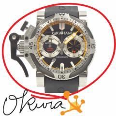 グラハム 腕時計 クロノファイター オーバーサイズ 中古 メンズ 2OVEV.B15A オートマ SS ラバーベルト GRAHAM 自動巻き ダイバー デイト