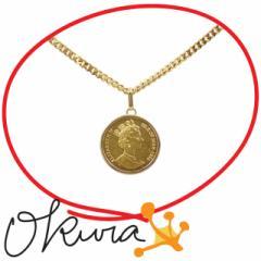 ゴールドコイン ネックレス 中古 レディース K18YG/K24YG 27.3g 18金 24金 イエローゴールド 750 ペンダント 硬貨 エリザベス2世 1/5oz
