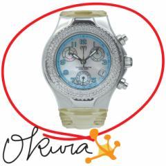 テクノマリン 腕時計 中古 レディース クォーツ SS ダイヤモンド ラバーベルト Technomarine 電池式 クロノグラフ ダイア テクノマリーン