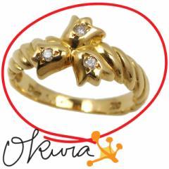 ディオール ダイヤモンド リング 中古 レディース K18YG 6号 0.04ct 2.5g Dior 18金 イエローゴールド 750 ダイア 指輪 送料無料 【中古