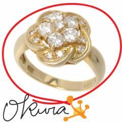 ダイヤモンド フラワーモチーフ リング 中古 レディース K18YG 8.5号 0.69ct 4.7g 18金 750 イエローゴールド 花 ダイア 指輪 送料無料